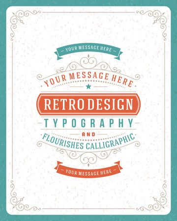 marriage certificate: Retro typographic design elements  Template for design invitations, posters and other design  Flourish and calligraphic