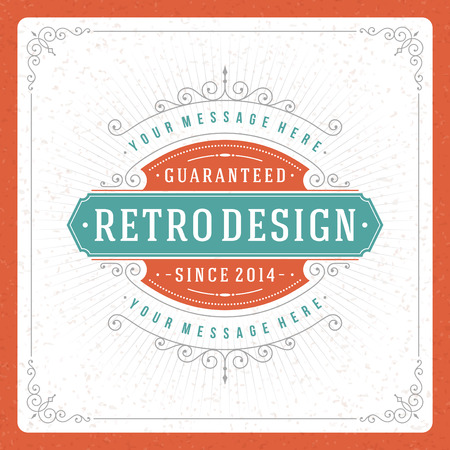 elegant border: Retro typographic design elements  Template for design invitations, posters and other design  Flourish and calligraphic