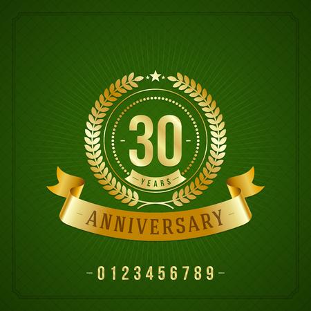 20 30: Golden vintage anniversary message emblem  Retro vector background   Illustration