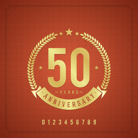 90 years: Golden vintage anniversary message emblem  Retro vector background   Illustration