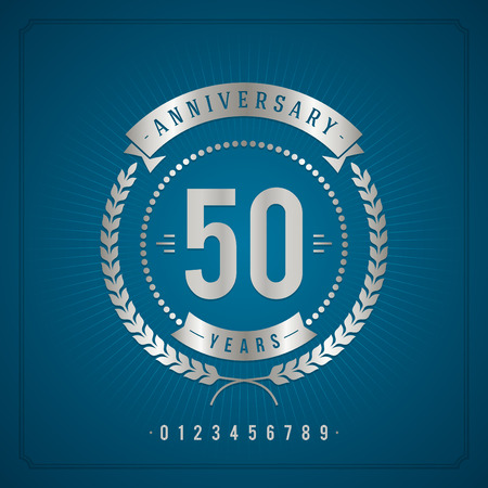 Golden vintage anniversary message emblem  Retro vector background   Illustration