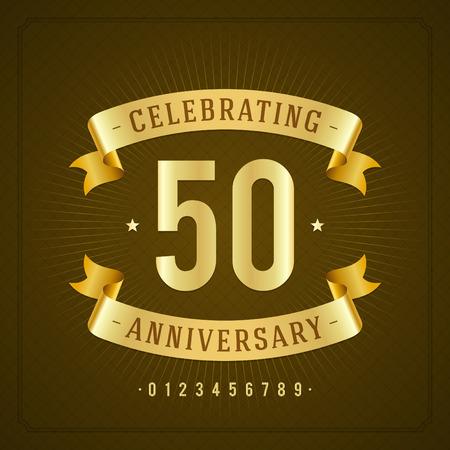 kutlamalar: Altın eski yıldönümü mesajı amblem Retro vector background Çizim