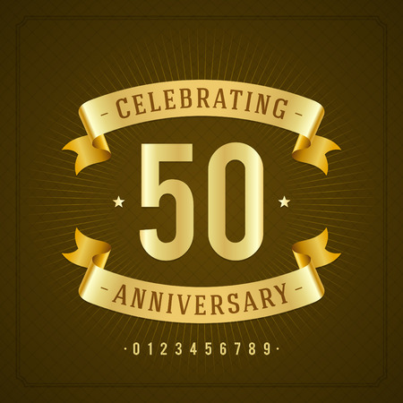 Golden vintage anniversary message emblem  Retro vector background   Illustration