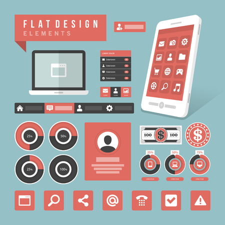 process chart: Flat design vector illustration infographic design elements concept and icons  Business and social media design  Web site and mobile phone templates