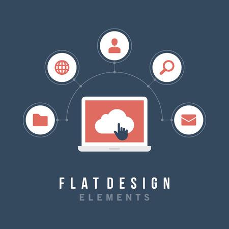 web content: Flat design vector illustration infographic design elements concept  Business and social media design  Design template   Illustration