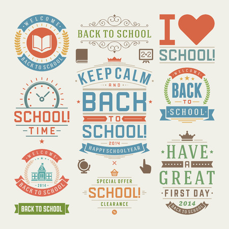 Back to school vector design elements collection. Typographic elements, vintage labels, frames, ribbons, cards, sale and clearance set. Flourishes and calligraphic retro ornaments Vector