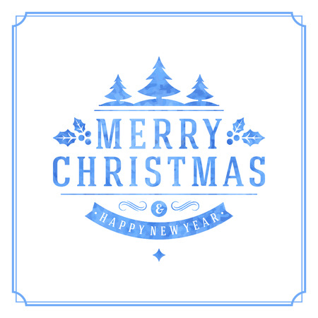 Christmas retro typography and ornament decoration Vector