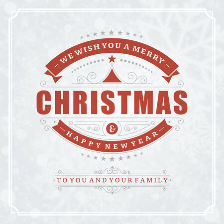 Christmas retro typographic and ornament decoration. Merry Christmas holidays wish greeting card and vintage background. Happy new year message. Vector illustration Eps 10 Vector