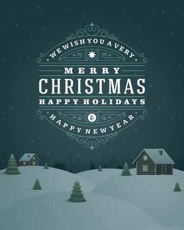 Christmas landscape retro typography and ornament decoration Vector