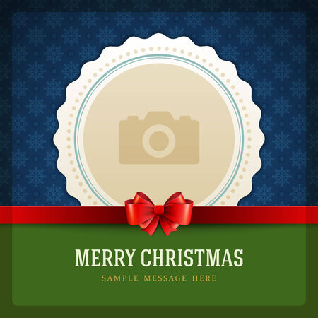 christmas photo frame: Christmas retro greeting card and place for photo Illustration