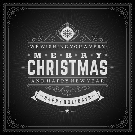 Christmas retro typography and ornament decoration