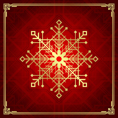 art deco: Christmas snowflake art deco style