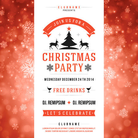 Christmas party invitation retro typography and ornament decoration Vector