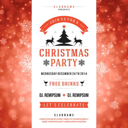kerst interieur: Kerstmis partij uitnodiging retro typografie en ornament decoratie Stock Illustratie
