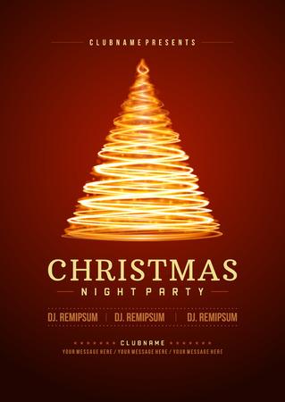 invitacion fiesta: Invitación de la fiesta de Navidad tipografía retro y ornamento