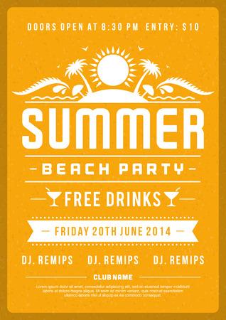 Poster retro do projeto do partido do verão ou flyer. Discoteca evento tipografia. Vector a ilustração do molde