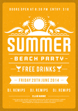 Retro summer party design poster or flyer. Night club event typography. Vector template illustration
