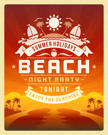 Fiesta del verano poster retro del diseño o un volante. Discoteca evento tipografía. Vector la ilustración del modelo Foto de archivo - 31297773