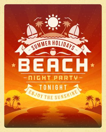 Retro zomer partij ontwerp poster of flyer. Nachtclub event typografie. Vector sjabloon illustratie Stock Illustratie
