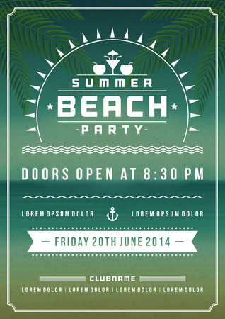 cocktail party: Retro summer party design poster or flyer. Night club event typography. Vector template illustration