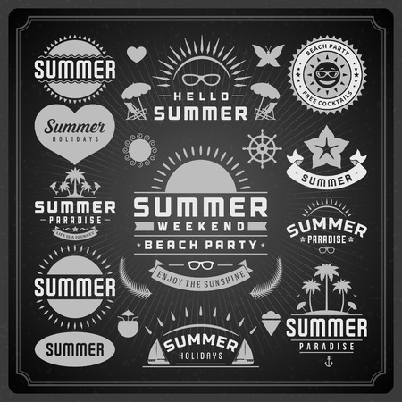 Summer design elements and typography design. Beach vacation and tropical paradise retro and vintage templates. Flourishes calligraphic ornaments, labels, badges, cards. Vector set Vector