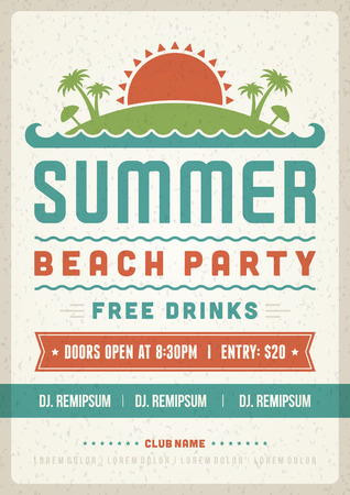 label tag: Retro summer party design poster or flyer. Night club event typography. Vector template illustration