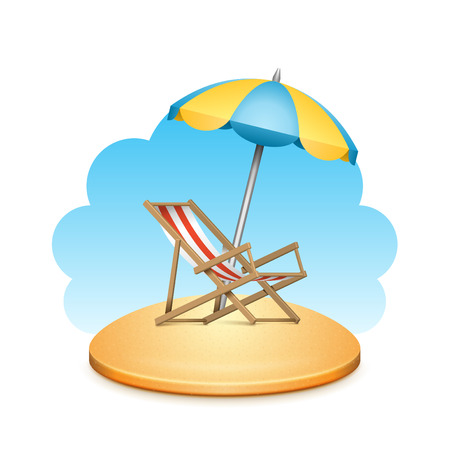 chaise longue: Beach sea with reclining beach chair and umbrella summer holidays vector background Illustration