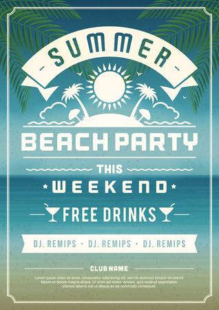 레트로 여름 파티 디자인 포스터 나 전단지. 나이트 클럽 이벤트 인쇄술. 벡터 템플릿 그림