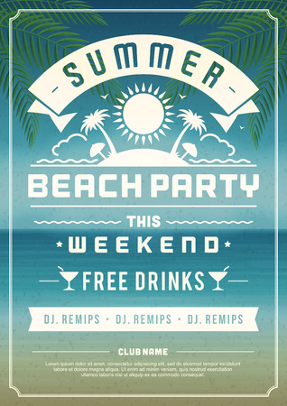 beach sea: Retro summer party design poster or flyer. Night club event typography. Vector template illustration