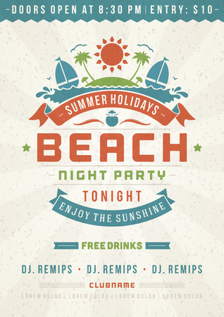 posters: Retro summer party design poster or flyer. Night club event typography. Vector template illustration