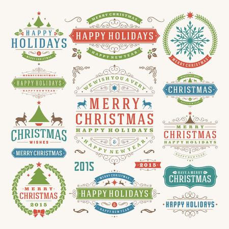 クリスマスの装飾のベクトルのデザイン要素です。メリー クリスマスと幸せな休日の願い。表記要素、リボン、装飾品、フレーム型のラベルを設定