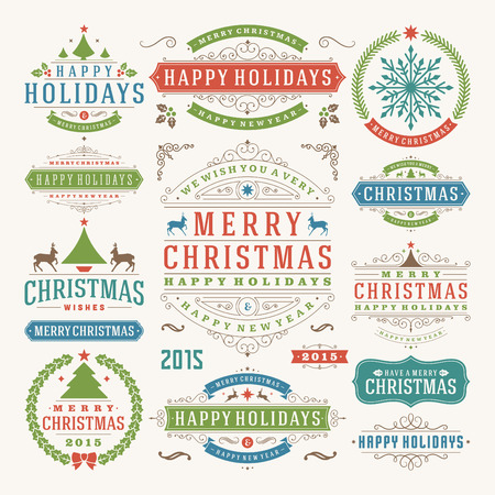 feliz: Decoración de Navidad elementos de diseño vectorial. Feliz Navidad y felices fiestas wishes.Typographic elementos, etiquetas de época, cuadros, adornos y cintas, establecen. Flourishes caligráficos.