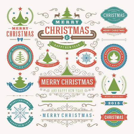 label tag: Christmas decoration vector design elements. Merry Christmas and happy holidays wishes.Typographic elements, vintage labels, frames, ornaments and ribbons, set. Flourishes calligraphic.