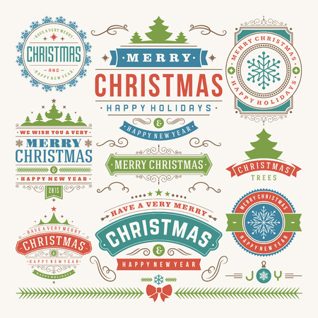 sello: Decoración de Navidad elementos de diseño vectorial. Feliz Navidad y felices fiestas wishes.Typographic elementos, etiquetas de época, cuadros, adornos y cintas, establecen. Flourishes caligráficos.