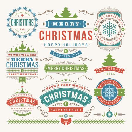 natale: Decorazioni di Natale elementi di design vettoriale. Vacanze Buon Natale e felice wishes.Typographic elementi, etichette d'epoca, cornici, ornamenti e nastri, set. Fiorisce calligrafico.