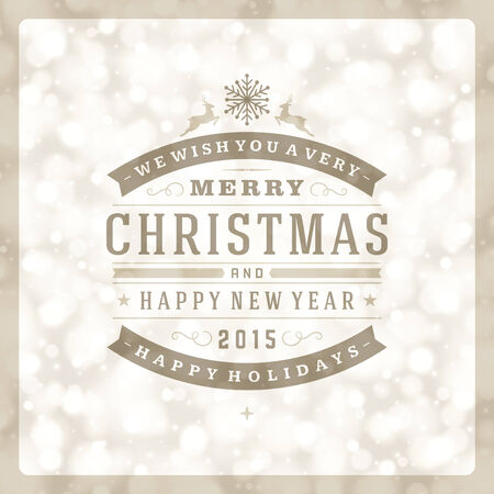 happy new year text: Christmas retro typography and light background. Merry Christmas holidays wish greeting card design and vintage ornament decoration. Happy new year message. Vector illustration Eps 10.