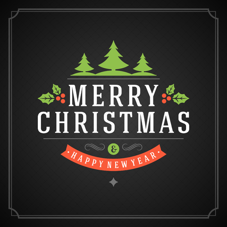 Christmas retro typography and ornament decoration. Merry Christmas holidays wish greeting card and vintage background. Happy new year message.  Vector