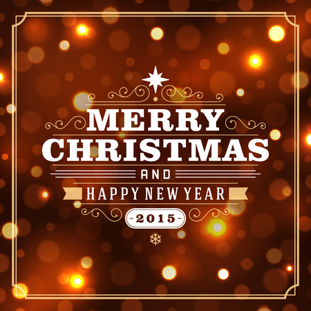 Christmas retro typography and light background. Merry Christmas holidays wish greeting card design and vintage ornament decoration. Happy new year message. Vector illustration Eps 10.