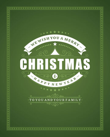 happy new year text: Christmas retro typography and ornament decoration. Merry Christmas holidays wish greeting card and vintage background. Happy new year message. Vector illustration Eps 10.
