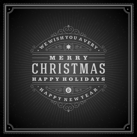 Christmas retro typography and ornament decoration. Merry Christmas holidays wish greeting card and vintage background. Happy new year message. Vector illustration Eps 10. Vector