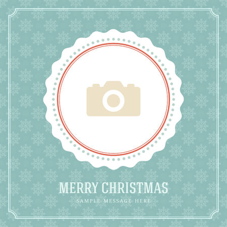 Christmas retro greeting card and place for photo. Merry Christmas holidays wish decoration vintage background.  Vector illustration Eps 10. Vector