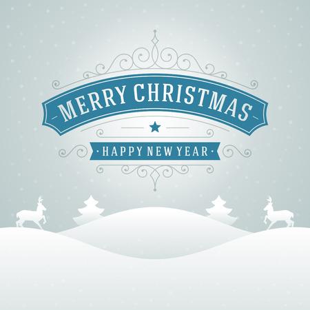 neve montagne: Decorazioni di Natale retr� tipografica e ornamento. Vacanze Buon Natale desiderano biglietto di auguri e sfondo vintage. Felice anno nuovo messaggio. Illustrazione vettoriale Eps 10. Vettoriali