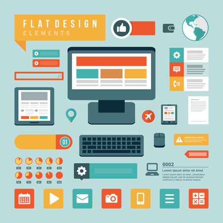 Flat design vector illustration infographic design elements concept and icons. Business and social media design. Web site and mobile phone templates. Illustration