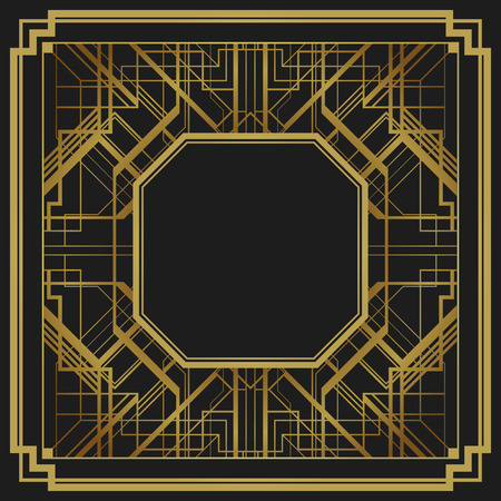 Art deco style geometric pattern, gold vector vintage background, 1920 style Vector
