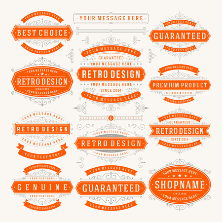 Vector vintage design elementen. Stock Illustratie