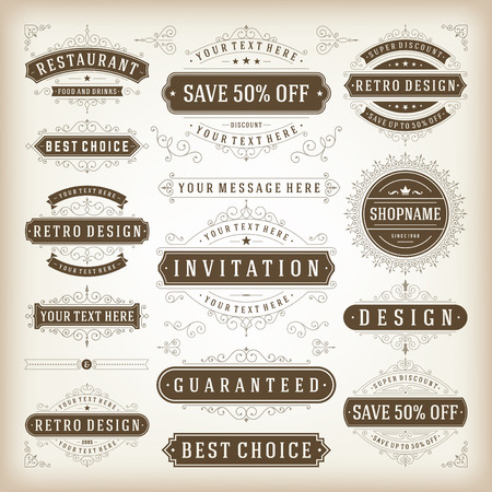 Vintage vector design elements. Retro style typographic, flourishes and calligraphic elements. Labels, ribbons, ornaments decorations, badges, stamps, sale signs set Vector