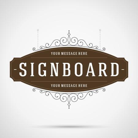Letrero de la vendimia de publicidad al aire libre gráficos de época y lugar de nombre de la tienda. Vector elemento de diseño. . Flourishes caligráficos.