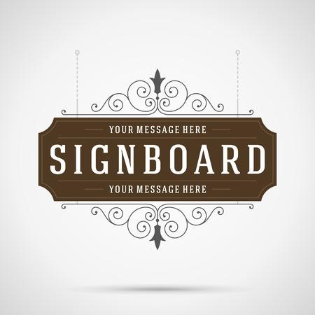 rejas de hierro: Letrero de la vendimia de publicidad al aire libre gráficos de época y lugar de nombre de la tienda. Vector elemento de diseño. . Flourishes caligráficos.