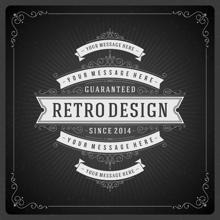 Retro chalkboard typographic design elements. Template for design invitations, posters and other design. Illustration