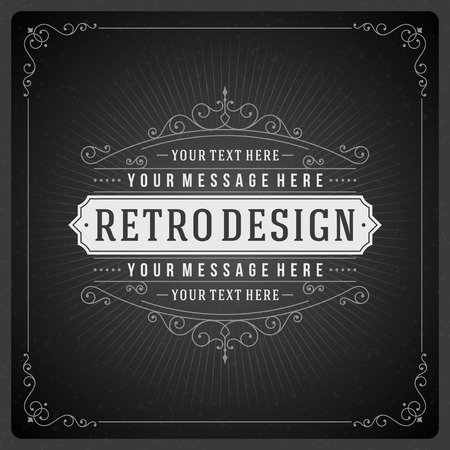 vintage borders: Retro chalkboard typographic design elements. Template for design invitations, posters and other design. Illustration